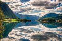 Reflections of a lake in Norway